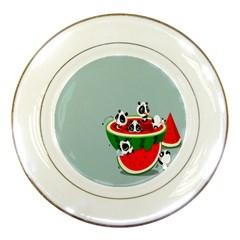 Panda Watermelon Porcelain Plates by AnjaniArt