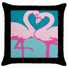 Pink Flamengo Throw Pillow Case (black) by AnjaniArt