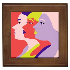 Three Beautiful Face Framed Tiles by AnjaniArt