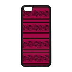 Red Barbwire Pattern Apple Iphone 5c Seamless Case (black) by Valentinaart