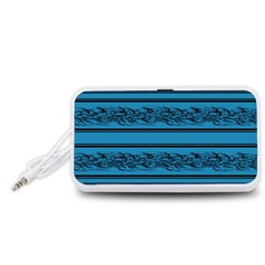 Blue barbwire Portable Speaker (White)  by Valentinaart