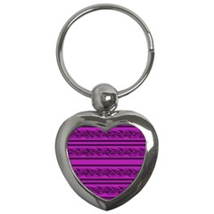 Magenta Barbwire Key Chains (heart)  by Valentinaart