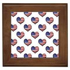 Usa Grunge Heart Shaped Flag Pattern Framed Tiles by dflcprints