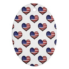 Usa Grunge Heart Shaped Flag Pattern Oval Ornament (two Sides) by dflcprints