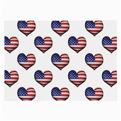 Usa Grunge Heart Shaped Flag Pattern Large Glasses Cloth (2 Side) by dflcprints