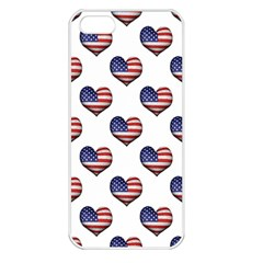 Usa Grunge Heart Shaped Flag Pattern Apple Iphone 5 Seamless Case (white) by dflcprints