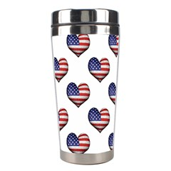Usa Grunge Heart Shaped Flag Pattern Stainless Steel Travel Tumblers by dflcprints
