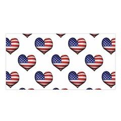 Usa Grunge Heart Shaped Flag Pattern Satin Shawl by dflcprints