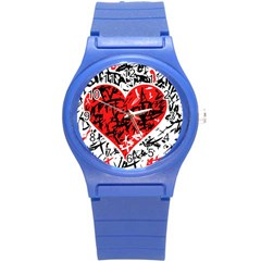 Red Hart   Graffiti Style Round Plastic Sport Watch (s) by Valentinaart
