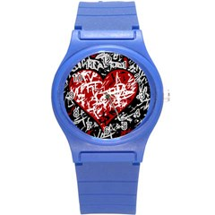 Red Graffiti Style Hart  Round Plastic Sport Watch (s) by Valentinaart