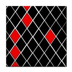 Elegant Black And White Red Diamonds Pattern Tile Coasters by yoursparklingshop