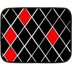 Elegant Black And White Red Diamonds Pattern Fleece Blanket (mini) by yoursparklingshop