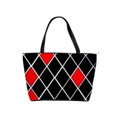 Elegant Black And White Red Diamonds Pattern Shoulder Handbags by yoursparklingshop