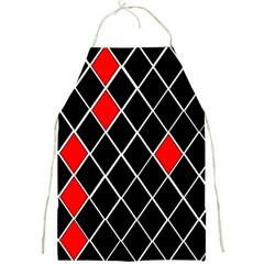 Elegant Black And White Red Diamonds Pattern Full Print Aprons by yoursparklingshop
