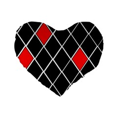 Elegant Black And White Red Diamonds Pattern Standard 16  Premium Heart Shape Cushions by yoursparklingshop