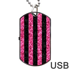 Stripes1 Black Marble & Pink Marble Dog Tag Usb Flash (one Side) by trendistuff