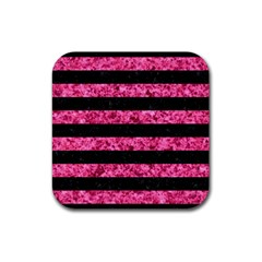 Stripes2 Black Marble & Pink Marble Rubber Square Coaster (4 Pack) by trendistuff