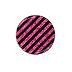 Stripes3 Black Marble & Pink Marble Hat Clip Ball Marker by trendistuff