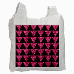 Triangle2 Black Marble & Pink Marble Recycle Bag (two Side) by trendistuff