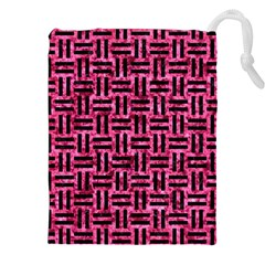 Woven1 Black Marble & Pink Marble (r) Drawstring Pouch (xxl) by trendistuff