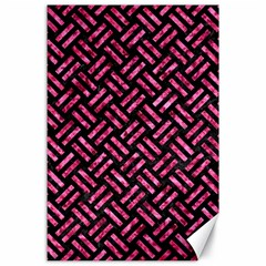Woven2 Black Marble & Pink Marble Canvas 24  X 36  by trendistuff