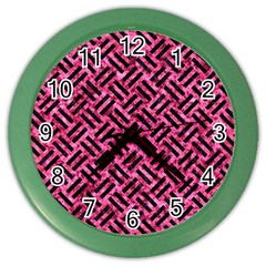 Woven2 Black Marble & Pink Marble (r) Color Wall Clock by trendistuff