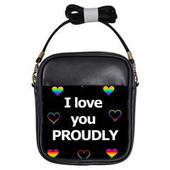 Proudly Love Girls Sling Bags by Valentinaart