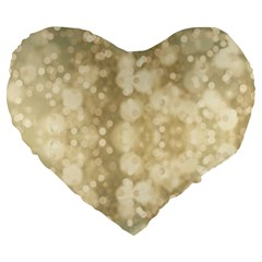Light Circles, Brown Yellow Color Large 19  Premium Heart Shape Cushions by picsaspassion