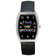 I Love You Proudly Barrel Style Metal Watch by Valentinaart