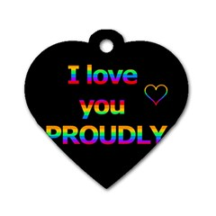I love you proudly Dog Tag Heart (One Side) by Valentinaart