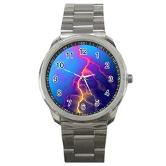 Lightning Colors, Blue Sky, Pink Orange Yellow Sport Metal Watch by picsaspassion
