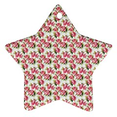 Gorgeous Pink Flower Pattern Star Ornament (two Sides)  by Brittlevirginclothing