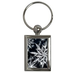 Snowflake In Feather Look, Black And White Key Chains (rectangle)  by picsaspassion