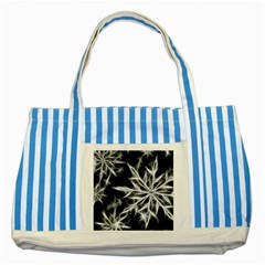 Snowflake In Feather Look, Black And White Striped Blue Tote Bag by picsaspassion