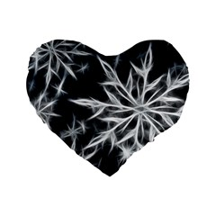 Snowflake In Feather Look, Black And White Standard 16  Premium Flano Heart Shape Cushions by picsaspassion
