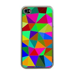 Colorful Triangles, Oil Painting Art Apple Iphone 4 Case (clear) by picsaspassion