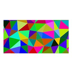 Colorful Triangles, Oil Painting Art Satin Shawl by picsaspassion