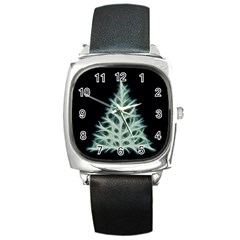 Christmas Fir, Green And Black Color Square Metal Watch by picsaspassion