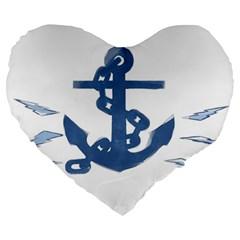 Blue Anchor,  Aquarel Painting Art Large 19  Premium Heart Shape Cushions by picsaspassion