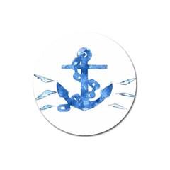 Anchor Aquarel Painting Art, Soft Blue Magnet 3  (round) by picsaspassion