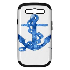 Anchor Aquarel Painting Art, Soft Blue Samsung Galaxy S Iii Hardshell Case (pc+silicone) by picsaspassion