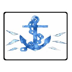 Anchor Aquarel Painting Art, Soft Blue Double Sided Fleece Blanket (small)  by picsaspassion