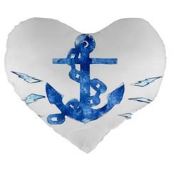 Anchor Aquarel Painting Art, Soft Blue Large 19  Premium Flano Heart Shape Cushions by picsaspassion