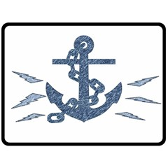 Anchor Pencil Drawing Art Double Sided Fleece Blanket (large)  by picsaspassion