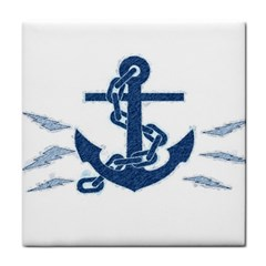 Blue Anchor Oil Painting Art Face Towel by picsaspassion