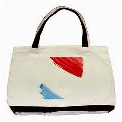 Tricolor Banner Watercolor Painting, Red Blue White Basic Tote Bag (two Sides) by picsaspassion