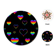 Rainbow harts Playing Cards (Round)  by Valentinaart