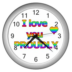 I Love You Proudly 2 Wall Clocks (silver)  by Valentinaart