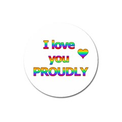 I Love You Proudly 2 Magnet 3  (round) by Valentinaart