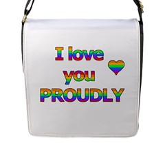 I Love You Proudly 2 Flap Messenger Bag (l)  by Valentinaart